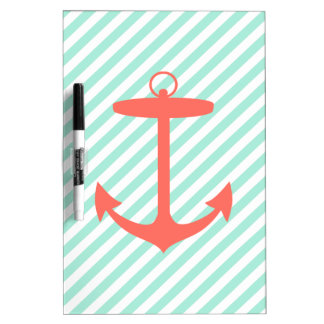 Coral Anchor Silhouette Dry Erase Board