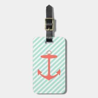 Coral Anchor Silhouette Luggage Tag