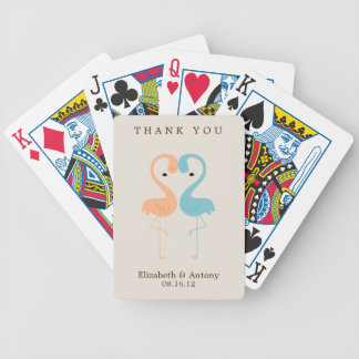 Coral and Aqua Flamingos Bicycle Playing Cards