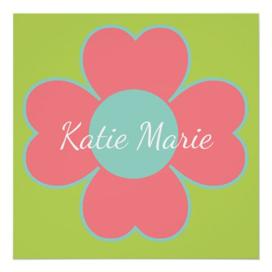 Coral and Aqua Heart Flower on Palm Personalised Poster