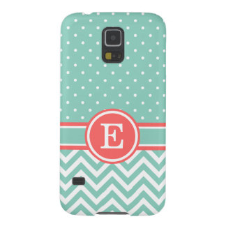 Coral and Aqua Preppy Chevron Dots Monogram Galaxy S5 Covers