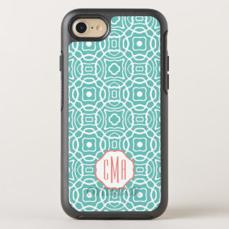 Coral and Aqua Quatrefoil Monogram OtterBox Symmetry iPhone 8/7 Case