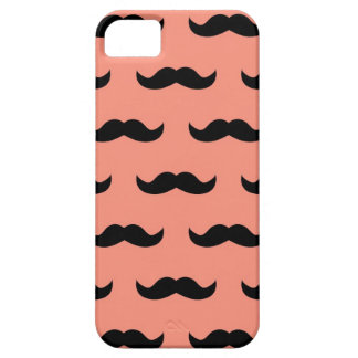 Coral And Black Moustache Pattern Barely There iPhone 5 Case