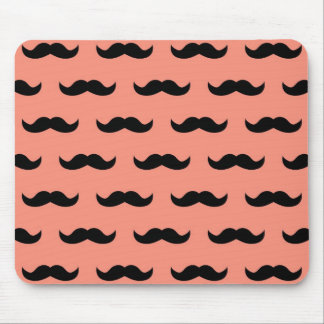 Coral And Black Moustache Pattern Mouse Pad
