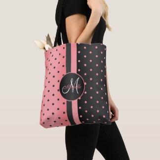Coral and Black Polka Dot Design Tote Bag