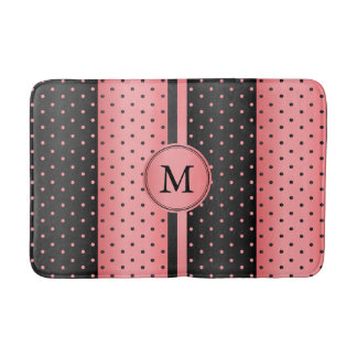 Coral and Black Polka Dot Pattern Bath Mat