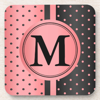 Coral and Black Polka Dots - Monogram Coaster