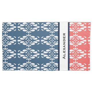 Coral and Blue Floral Name Pillowcase