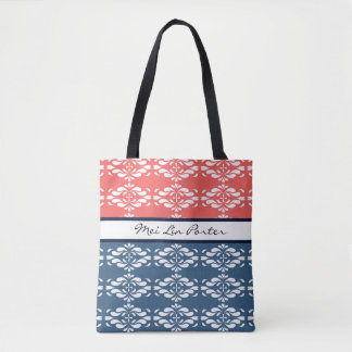 Coral and Blue Floral Tote Bag