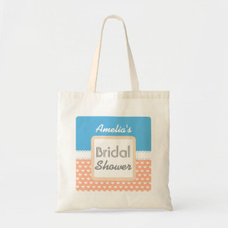 Coral and Blue Heart Theme Bridal Shower C01 Budget Tote Bag