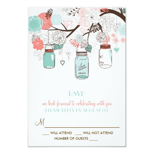 Coral and Blue Mason Jars Floral RSVP Card