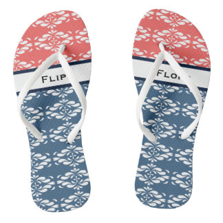Coral and Blue Pattern Flip Flops