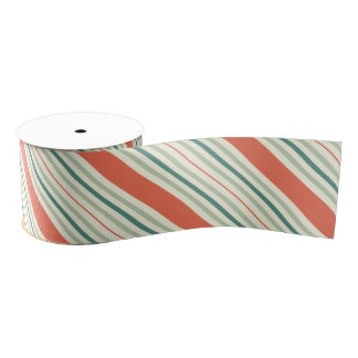 Coral and Blue Stripes on Cream Ribbon Grosgrain Ribbon