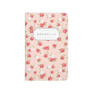Coral and Blush Chic Vintage Floral Print Monogram Journal