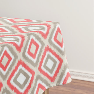 Coral and brown modern Ikat diamond pattern Tablecloth