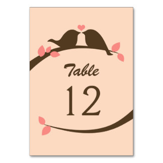 Coral and Chocolate Love Bird Table Cards