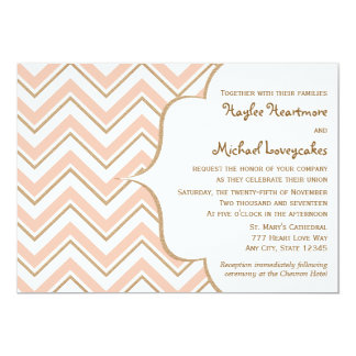 Coral and Gold Chevron Wedding Invitations