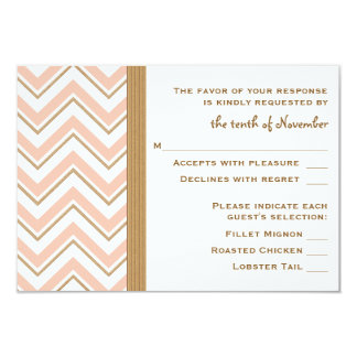 Coral and Gold Chevron Wedding RSVP Response Cards