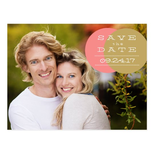 Coral and Gold Circles Save the Date Postcard