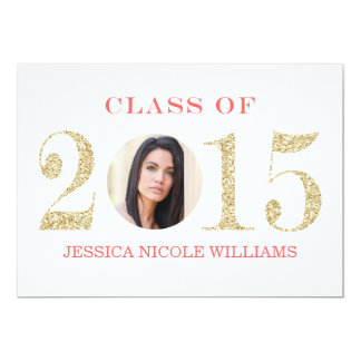 Coral and Gold Graduation Invitations