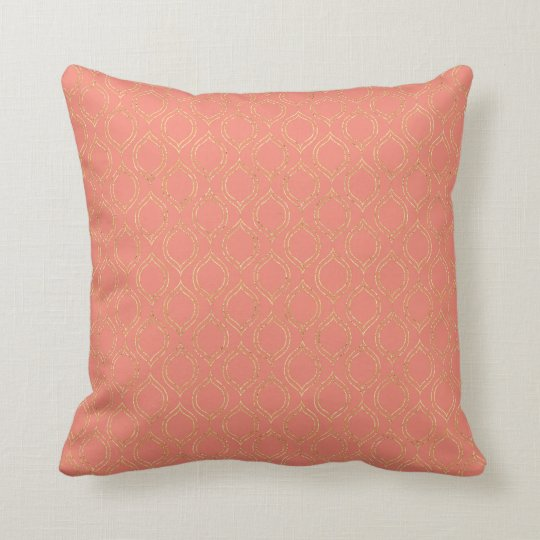Coral and Gold Moroccan Chic Pattern Throw Pillow