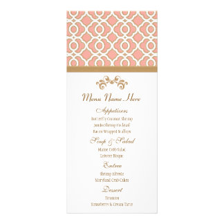 Coral and Gold Moroccan Menu Personalised Rack Card