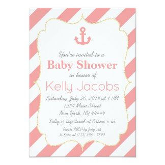 Coral and Gold Nautical Baby Shower Invitation
