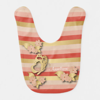 Coral and Gold Stripes with Butterflies for Baby Bib