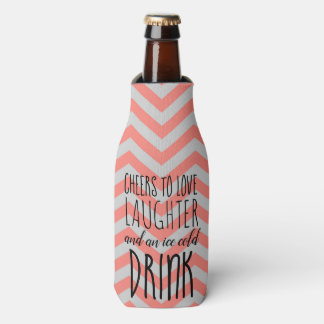 Coral and Gray Chevron Bottle Cooler