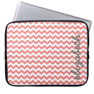 Coral and Gray Chevron Pattern with Big Name Laptop Sleeve