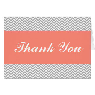 Coral and Gray Chevron Thank You Card