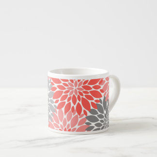 Coral and Gray Chrysanthemums Floral Pattern