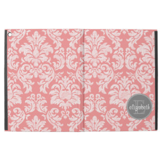 "Coral and Gray Damask Pattern with Custom Name iPad Pro 12.9"" Case"