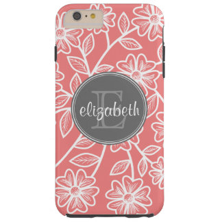 Coral and Gray Floral Pattern with Name Monogram Tough iPhone 6 Plus Case