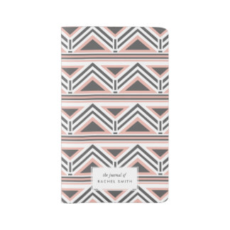 Coral and Gray Geometric Tribal Pattern Large Moleskine Notebook