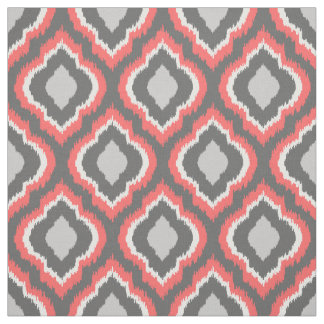 Coral and Gray Ikat Moroccan Fabric