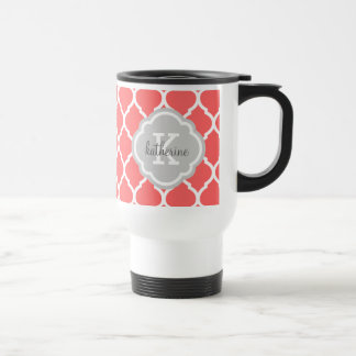 Coral and Gray Moroccan Quatrefoil Monogram Travel Mug
