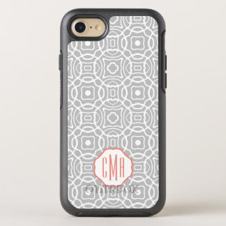 Coral and Gray Quatrefoil Monogram OtterBox Symmetry iPhone 7 Case