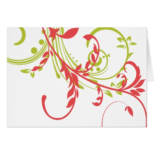 Coral and Green Double Floral Thank You Note Card