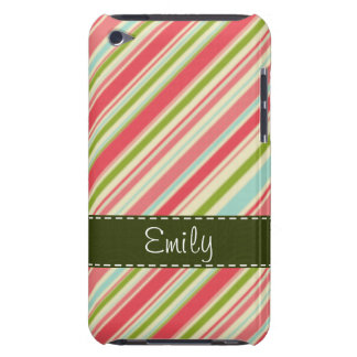 Coral and Green Stripes; Striped iPod Touch Covers
