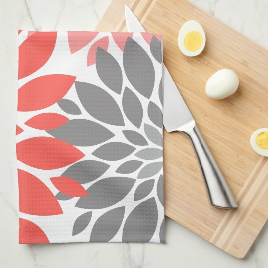 Coral and Grey Chrysanthemums Floral Pattern Tea Towel