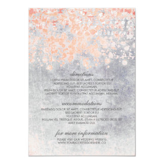 Coral and Grey Confetti Wedding Information Card