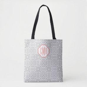 Coral and Grey Quatrefoil Custom Monogram Tote Bag