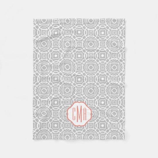 Coral and Grey Quatrefoil Monogram Fleece Blanket
