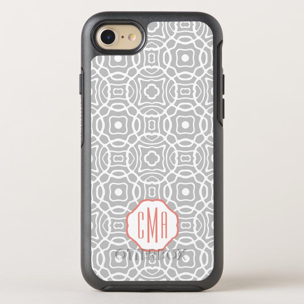 Coral and Grey Quatrefoil Monogram