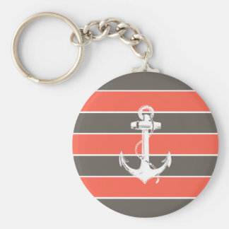 Coral and Grey Stripes with Anchor Basic Round Button Key Ring