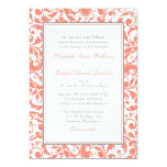 Coral and Grey Swirl Damask Wedding Custom Invites