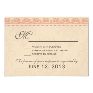 Coral and Grey Vintage Damask Wedding RSVP Personalized Announcement