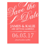 Coral and Grey Vintage Script Save the Date