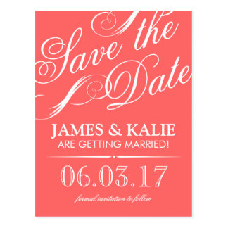 Coral and Grey Vintage Script Save the Date Postcard